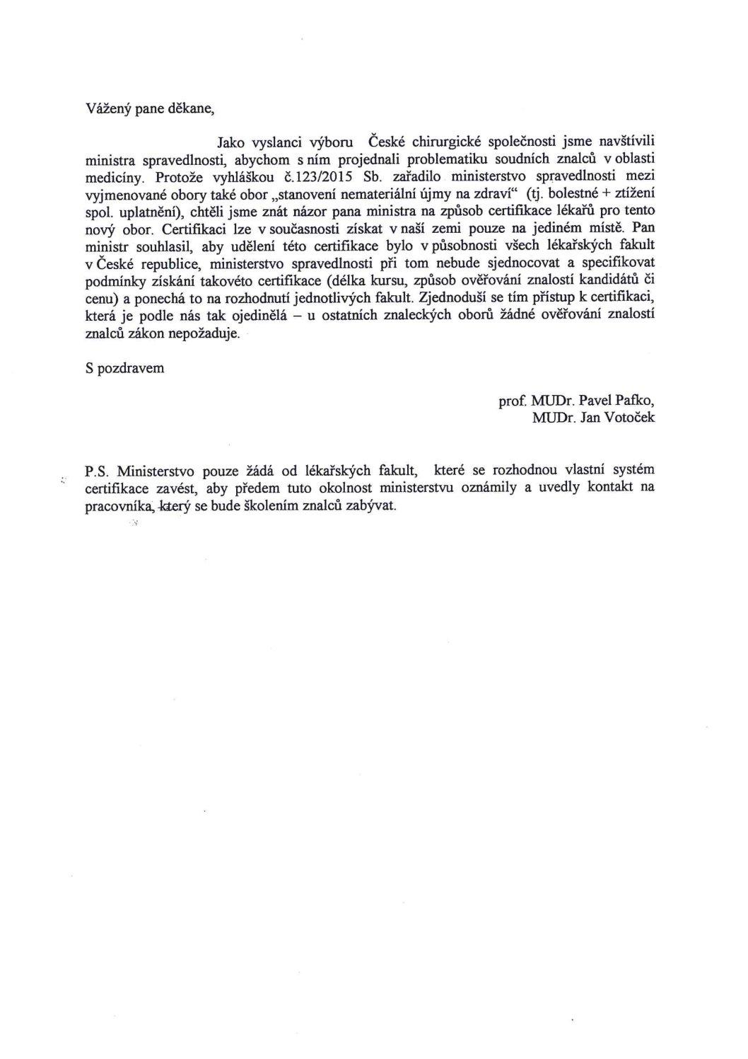 Dopis děkanům o problematice soudních znalců (2.3.2016)