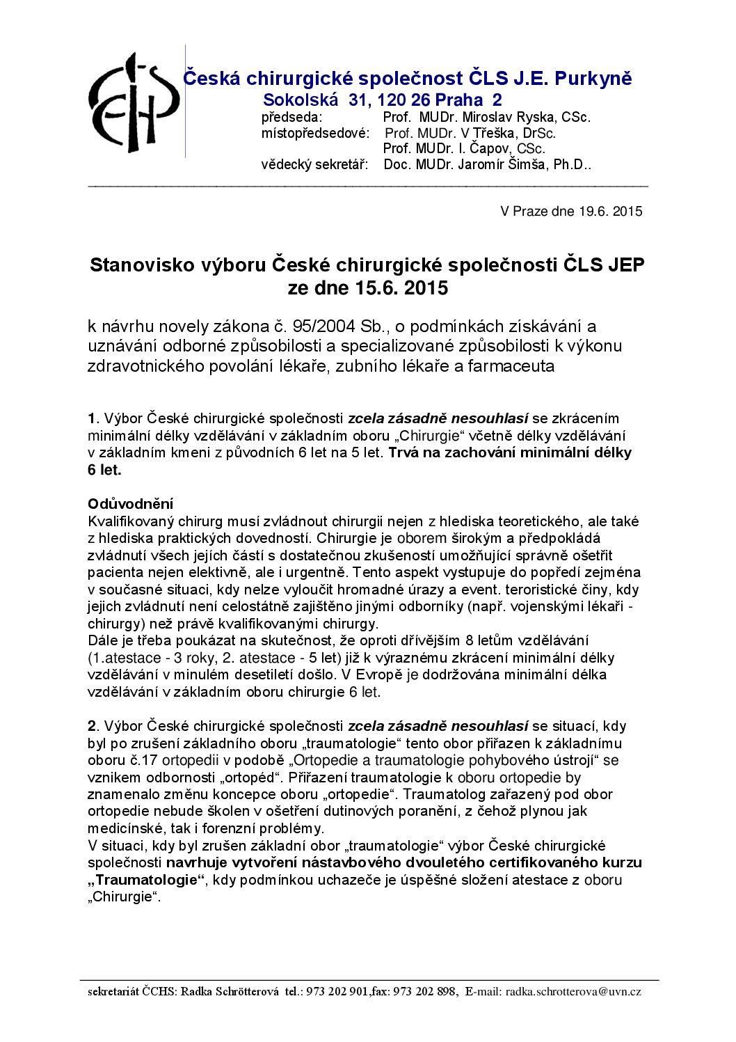 Stanovisko výboru ČCHS ČLS JEP knávrhu novely zákona č. 952004 Sb
