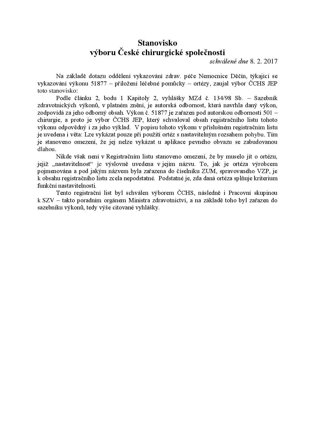 Stanovisko výboru ČCHS ČLS JEP kvykazování výkonu 51877 (8.2.2017)