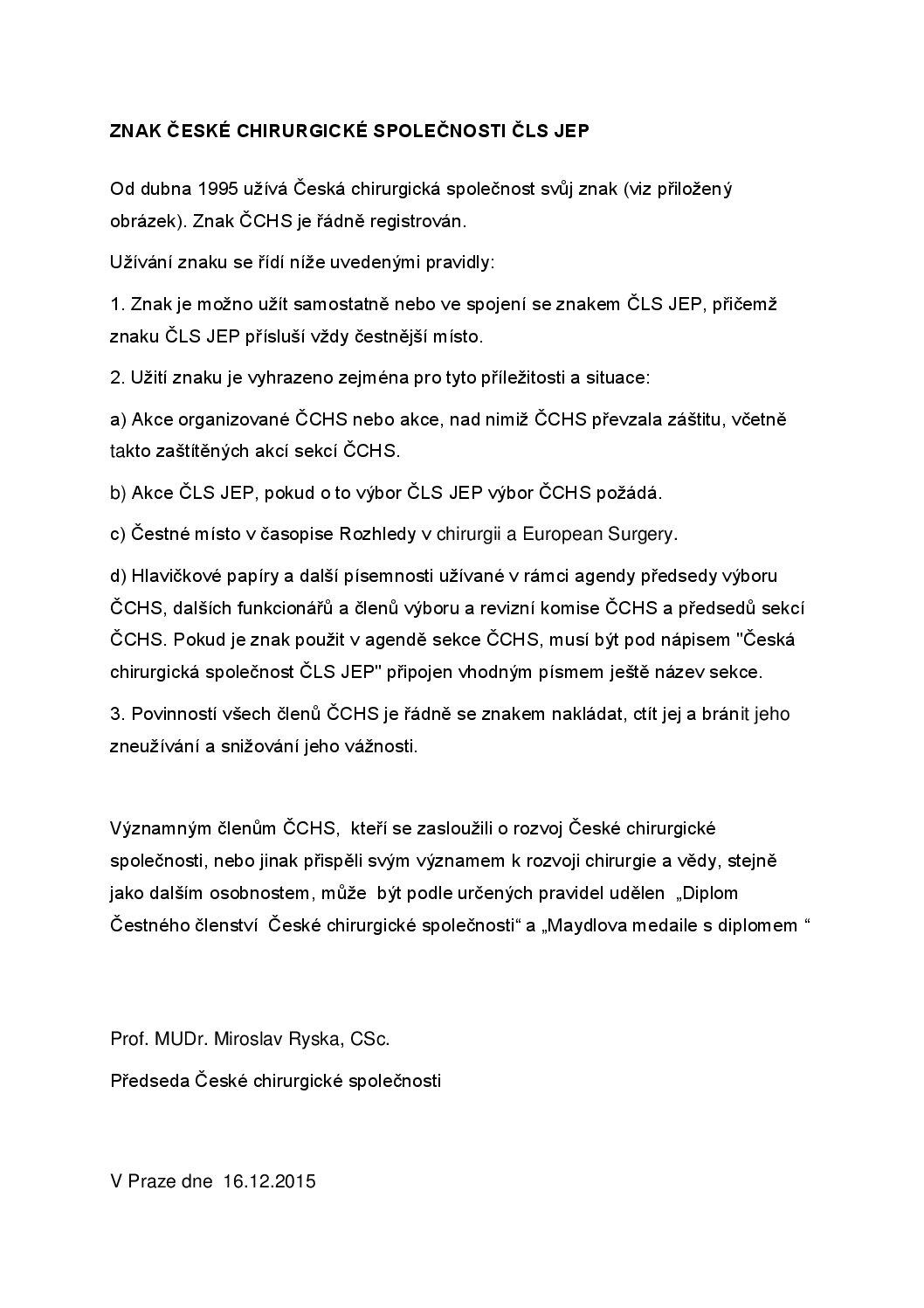 Znak ČCHS ČLS JEP (16.12.2015)